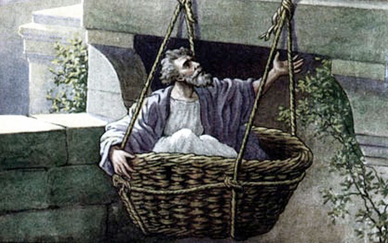 Saul escaping Damascus in a basket