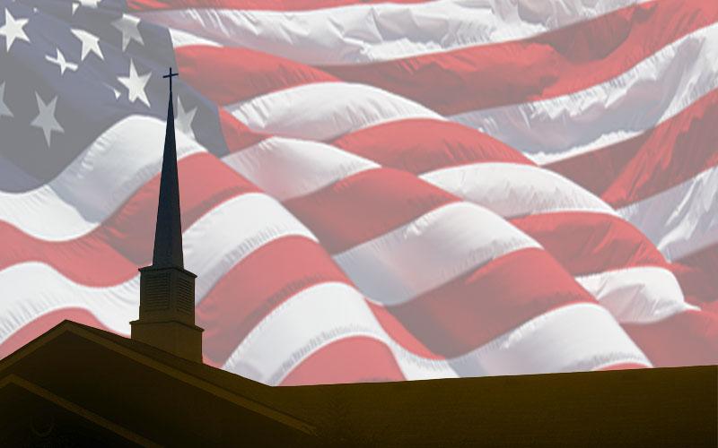 Church and American Flag