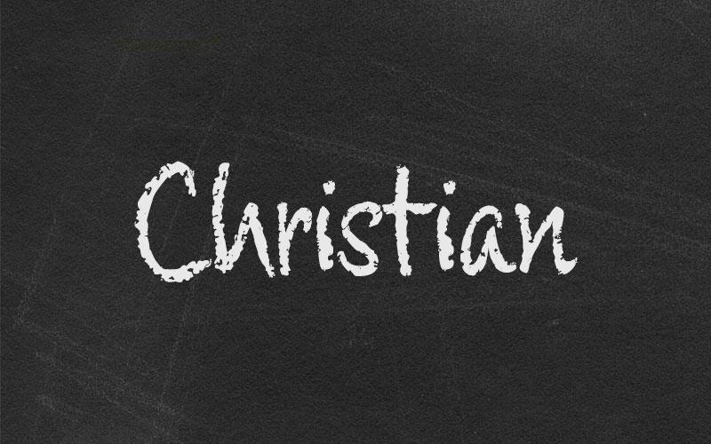 Christian on chalkboard